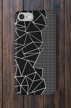 Geometric Black Grid iPhone Case $29 #geometric #triangles #iphonecase #blackandwhite #techaccessories #grid