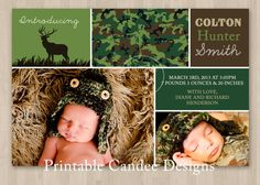 Camoflauge Hunting Baby Birth Announcement by printablecandee, $10.00