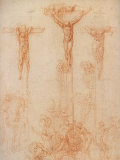 "Michelangelo - ""Three Crosses"" red chalk on paper, 1523"