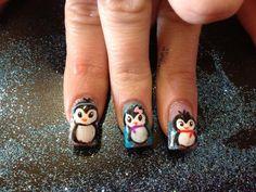 Penguin acrylic nails
