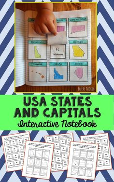 United States of America Capitals and Abbreviations Social Studies Interactive Notebook and Tests. Complete Unit Study.  This unit includes an interactive notebook project, state abbreviations test, state capitals test, test study guides, and answer keys.  With exception to making copies, this unit has very little teacher prep. It makes a great addition to your American history or USA geography unit, but is also a simple several-day project to leave with a substitute teacher.