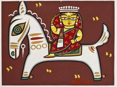 View Untitled Woman on Horse by Jamini Roy on artnet. Browse upcoming and past auction lots by Jamini Roy. Madhubani Paintings Peacock, Madhubani Art, Indian Art Paintings, Indian Artwork, Phad Painting, Worli Painting, Indian Folk Art, Indian Artist, Om Namah Shivaya