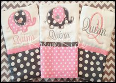 Pink & Grey Elephant Burp Cloth Set-Pink & Grey Elephant Burp Cloth Set
