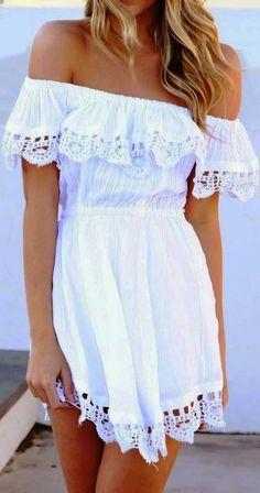 dress lace dress boho boho dress white dress white bohemian bohemian dress crochet sabo skirt summer dress off the shoulder off the shoulder dress bag Girly Outfits, Summer Outfits, Cute Outfits, Summer Dresses, Casual Outfits, Moda Hippie, Boat Neck Dress, Up Girl, Spring Summer Fashion