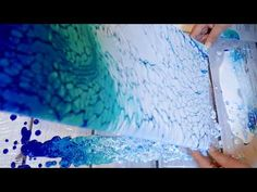 (35) TWO SWIPE Acrylic Pour with Pretty Blues!! - YouTube
