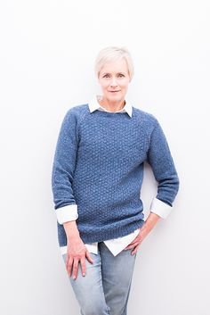 Cadence is knit in Shelter with options for a crew neck, V-neck, or turtleneck and for varying sleeve and torso lengths. All versions sport a textured body and stockinette sleeves with a modified raglan shoulder for a comfortable fit.