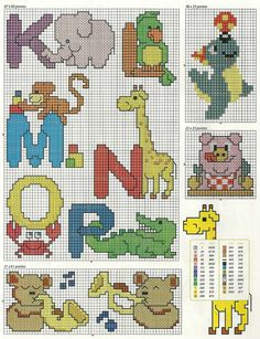 Animal Alphabet 2 Cross Stitch Pattern                                                                                                                                                     Mais