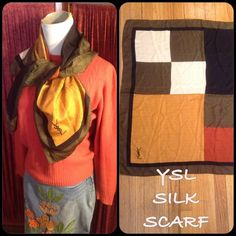 """SALEVINTAGE YVES SAINT LAURENT SILK SCARF SPECTACULAR VINTAGE ERA (c 1980's) XL SQUARE 33"""" by 33"""" COLORFUL BLOCK PRINT SILK YVES SAINT LAURENT SCARF! IN EXTREMELY WELL PRESERVED VINTAGE CONDITION! NO RIPS, PULLS, TEARS OR FRAYING! CLASSIC AUTUMN COLORS-BLACK/GREEN/BURNT ORANGE/GOLDEN MUSTARD WITH LARGE BLACK SIGNATURE """"YSL"""" ON FRONT. THE ORIGINAL TAG FELL OFF TEARS AGO AND THE OWNER NO LONGER HAS THE ORIGINAL BOX. PLEASE DO NOT HESITATE TO ASK ANY QUESTIONS! Yves Saint Laurent Accessories…"""