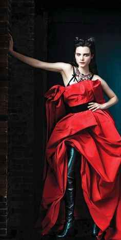 Neo-Victorian Red Drapped Gown w/ Black Boots (rework everything above the breasts & we'll talk!) #vogue #dress