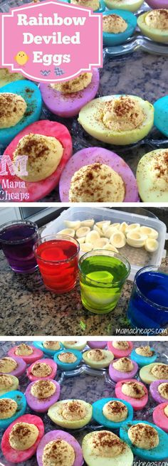 Rainbow Deviled Eggs for Easter - so colorful and fun looking!