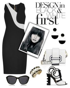 """Think Black&White."" by schenonek on Polyvore featuring moda, Prada, Kat Maconie, Marni, Roland Mouret, House of Harlow 1960 y Le Specs"