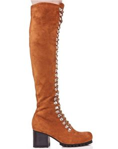 Current Mood Rust Willow Boots will have yew feelin' the rhythm of the earth, bb. These gorgeous knee-high boots feature a luxxx rusty brown vegan suede construction, block heel with thick treaded sole, super strappy full-length D-ring lace-ups, and sleek side zip closures.