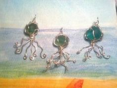 Jellyfish sea glass necklaces from Goofy Moose Productions