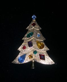 LARGE VINTAGE SIGNED WEISS GOLD TONED XMAS TREE BROOCH PIN | eBay