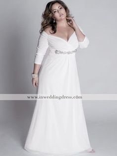 chiffon plus size wedding dress. I'm in love with this dress