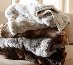 I think I'd like a faux fur throw for the reading nook and the couch - colours. Need throws but wool is too itchy for me and the kids Grey Faux Fur Throw, Faux Fur Blanket, Fuzzy Blanket, Bachelor Room, Fur Bedding, Bedroom Comforters, Grey Bedding, Grey Ombre, Gray