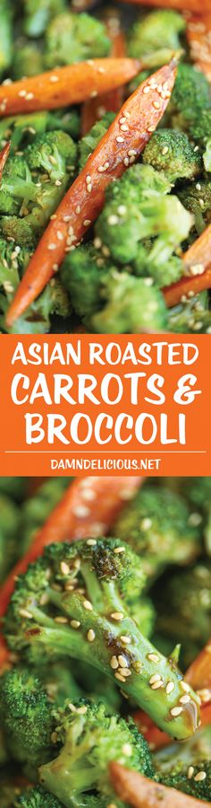 Asian Roasted Carrots and Broccoli - Super simple, quick, and easy, packed with so much flavor with such a short ingredient list and just 5 min prep!