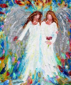Original oil painting abstract Angels -  Forever Friends palette knife impressionism on canvas fine art by Karen Tarlton