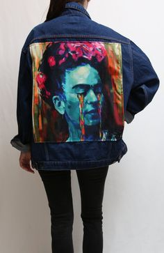 #Upcycled #jacket #Vintage #clothes and #Handmade by #MadeWithUnicorns #etsy #art #artist #mexican #painting #printing #fashionista #fashionbloger #streetstyle #90s #naked #cigarette #smoked #rare Frida Kahlo Portraits, Dark Brown Color, Jacket Brands, Denim Jackets, Vintage Pink, Printing On Fabric, Naked, Mexican, Etsy Shop