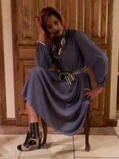 1970s Mauve Pleated Dress  AnnDavisDesign on Etsy.com
