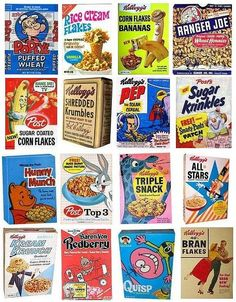 Cereal boxes produced between 1910s - 1970s