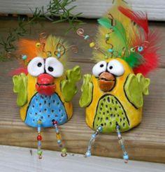 Pinch pot chickens...folk art style.