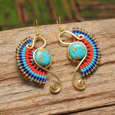 Shaped brass tribal earrings with turquoise by cafeandshiraz