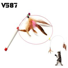 Random Colored Feathers Funny Cats Wire Rods Flying Bell