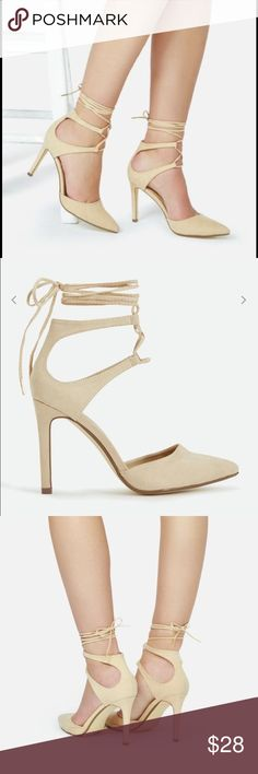 """Dulcinia Ankle-Tie Heels Elegant, sophisticated, pointed-toe heels with wrap-around ankle ties. Nude color. Heel height approx. 3.75"""". Synthetic upper. Manmade sole. New in box! Only tried on.  Please feel free to ask any questions or make an offer! JustFab Shoes Heels"""