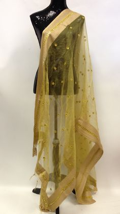 Mirror Work Dupatta - Golden