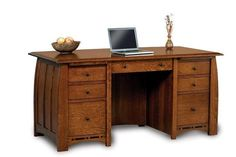Amish Oak Wood Boulder Creek Desk - Quick Ship Impressive wood desk for home office or business. The Boulder Creek is available Quick Ship. Built in Amish country in 3 to 4 weeks and delivered to your door. #wooddesks #desks #officefurniture