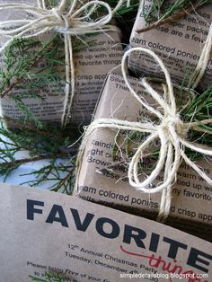 lyrics to the song on brown craft paper to use as gift wrap.  brown paper packages tied up with string...