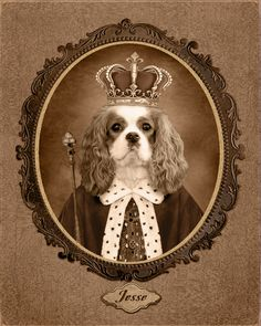 Famous Artwork, Old Dogs, Cavalier King Charles, Dog Portraits, Photomontage, Collage Sheet, Dog Art, Cute Pictures, Concept Art