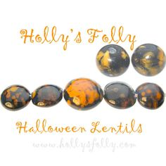 Halloween Lentils Lampwork Bead Set BLACK W/ by HollysFollyGlass, $12.00
