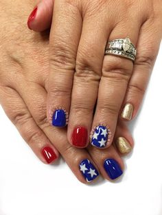 Wonder women nails. Fourth of July nails. America! Red white and blue nails. #PreciousPhan