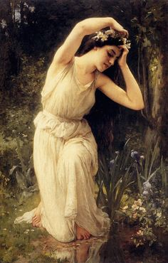 aquietsunday:  A Nymph In The Forest by Charles Amable Lenoir.