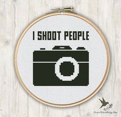 I Shoot People Cross Stitch Pattern, Camera funny cross stitch pattern, modern cross stitch pattern, photographer gift cross stitch pattern by CrossStitchHobbyShop on Etsy