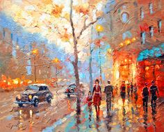 Evening Boulevard OIL PALETTE KNIFE on canvas by spirosart on Etsy