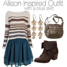 Allison Inspired Outfit With a Blue Skirt by veterization on Polyvore featuring Suss, Rocket Dog, Bueno, Tinley Road, women's clothing, women's fashion, women, female, woman and misses