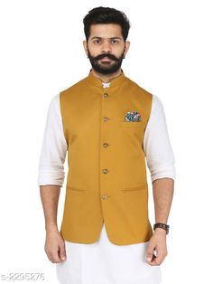 Ethnic Jackets Stylish Cotton Viscous Blend Printed Ethnic Jacket Fabric: Cotton Viscous Blend Sleeves: Sleeves Are Not Included Size: 36 in 38 in 40 in 42 in 44 in (Refer Size Chart) Length: (Refer Size Chart) Type: Stitched Description: It Has 1 Piece of Men's Ethnic Jacket Pattern:Solid Country of Origin: India Sizes Available: 36, 38, 40, 42, 44, 46 *Proof of Safe Delivery! Click to know on Safety Standards of Delivery Partners- https://ltl.sh/y_nZrAV3  Catalog Rating: ★4.2 (349)  Catalog Name: Men's Stylish Cotton Viscous Blend Printed Ethnic Jackets Vol 1 CatalogID_306072 C66-SC1202 Code: 118-2295276-