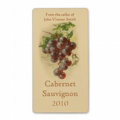Avery Shipping Address Labels as Wine bottle labels. A label for home-made wine makers with an illustration of a bunch of purple red grapes on a vine with green leaves on a beige background, from a vintage painting. Canning Labels, Wine Bottle Labels, Wine Bottles, Grape Painting, Red Grapes, Beige Background, Label Templates, Custom Address Labels, Wine Making