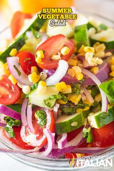 Summer Vegetable Salad with a tangy basil vinaigrette is very easy to make and bursting with summer flavor! Food Network Recipes, Real Food Recipes, Vegetarian Recipes, Cooking Recipes, Healthy Recipes, Detox Recipes, The Slow Roasted Italian, Vegetable Salad Recipes, Side Recipes