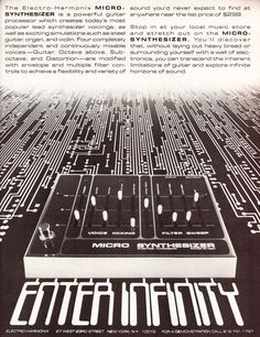 From the classic vintage sounds of the great early Moog synthesizer to custom creations, the Microsynth creates classic fat analog synth sounds. Vintage Synth, Vintage Music, Vintage Ads, Vintage Posters, Music Production Equipment, Recording Equipment, Guitar Effects Pedals, Guitar Pedals, Synthesizer Music