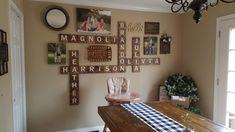 Half A Dozen Designs. Scrabble Tile Wall Art, Letter Wall Decor, Wall Tiles, Family Pictures On Wall, Family Photos, Scrabble Crafts, Chanel Wall Art, Cheap Wall Art, Pallet Wall Art