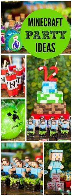 What a cool Minecraft birthday party with awesome decorations! See more party ideas at CatchMyParty.com!