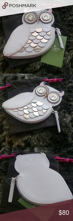 Rare Kate Spade New York Owl Coin Purse Rare Kate Spade Owl coin purse from Blaze A Trail Collection. Satin Sequin embroidery with metallic leather trim. Colors are cream, gray and pink. 14 k light gold plated hardware. Custom Caroleena spade dot lining. Kate Spade pouch included. Fast shipping. Kate Spade Bags Wallets