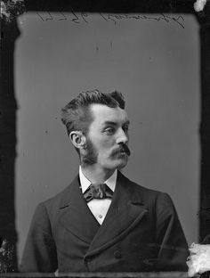 A Victorian gent with some seriously stylin' hair! (Mr. Kavanaugh / M. Kavanaugh, January 1874, viLibraryArchives). #Victorian #Canada #portraits #men