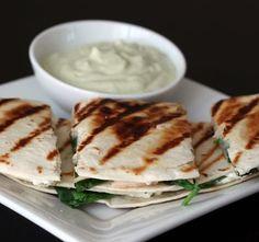 Chicken, Spinach, Goat Cheese Quesadillas with Avacado Sour Cream