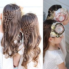 The girls' hair for church today. Waterfall twist and then I wove the strands underneath and pulled them into a braid on the side.  And we wore these gorgeous headbands from @linsofandi They are still one of our favourites!