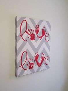 Any Color, Chevron Love Handprint and Footprint Canvas Art with Print Kit, for 2 Children, Custom Handpainted Keepsake, Love Canvas, Kids Canvas, Toddler Canvas Art, Canvas Ideas, Baby Crafts, Toddler Crafts, Kids Crafts, Daycare Crafts, Creative Crafts